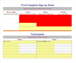 food sign up sheet 40 sign up sheet sign in sheet templates word excel free
