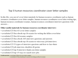 Sample Hr Coordinator Cover Letter Top 5 Human Resources Coordinator Cover Letter Samples