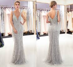 Mermaid Designer 2019 Gorgeous Gray Gold Mermaid Designer Evening Dresses Luxury Beaded Sexy Deep V Neck Womens Formal Occasion Wear Prom Party Gown Cps1167 Plus Size