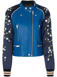 coach embroidered er jacket blue women