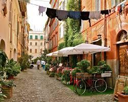 Trastevere Rome Photography - Italy Photograph Print - Roman Trattoria -  Italian Laundry Bicycle Orange Decor Kitchen Wall Art