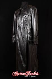men s morpheus matrix black lambskin full length double ted leather jacket trench coat