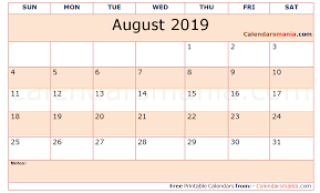 Editable 2015 2020 Calendar Fillable August 2019 Calendar