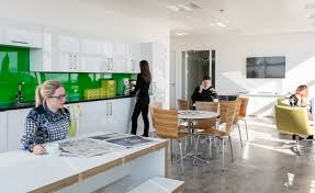 office kitchen. Funky Office Kitchen Design. Bright, Light And Spacious. Interaction Used Splashes Of CBRE\u0027s