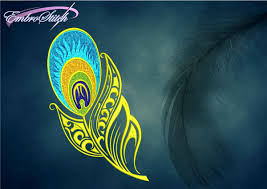 Embroidery Feather Designs Colorful Peacock Feather Embroidery Design 3 Sizes