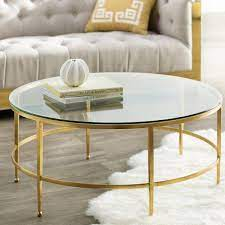 gottlieb round glass gold coffee table