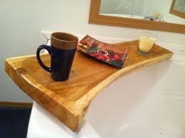 custom made live edge cedar bath tub caddy