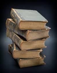 stack of very old encyclopedias