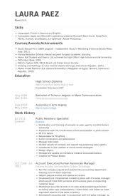 Public Relations Resume Best Public Relations Specialist Resume Samples VisualCV Resume Samples