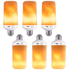 Fimitech Flame Light Bulbs Vivohome 4 Modes Led Flame Effect Flickering Fire Light Bulbs Pack Of 6