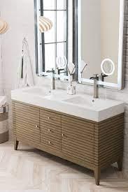 Linear 59 Double Bathroom Vanity White Washed Walnut