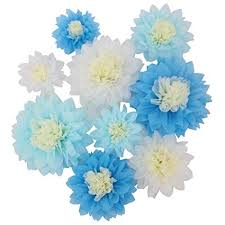 Paper Flower Wedding Centerpieces Mybbshower Giant Blue White Paper Flower For Birthday Party Backdrop Wedding Centerpiece Pack Of 9