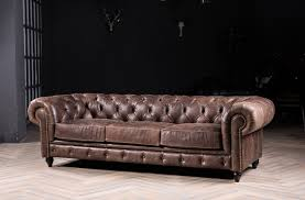 Chesterfield Sofa With Vintage Italian Leather For Antique Style  Genuine 3seater N36