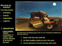 why study art criticism four step process description ysis