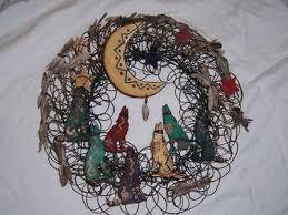 "IVAN BARNETT FOLK Art Wired Wreath Wolves Moon Feathers Santa Fe 22"" Sgn  Peacock - $119.99 | PicClick"