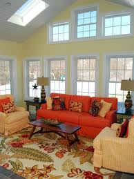 Orange Living Room Chair Amazing Orange And Cream Sofa With Table Closeup Wallpaper And