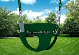 wooden toddler swing studio shot of green half bucket toddler swing from wooden childs swing seat wooden toddler swing