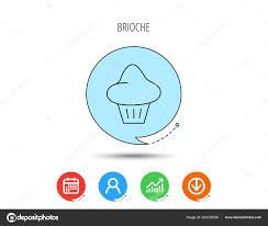 Bun Chart Brioche Icon Bread Bun Sign Bakery Symbol Calendar User