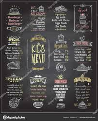 Kids Menu Chalkboard Designs Set Stock Vector Slena