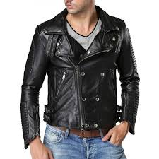 mens motorcycle double ted black jacket