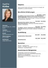 Tabular Cv Template German Cv Templates Free Download Word Docx