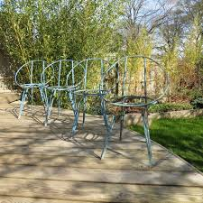 set of 4 vintage metal garden chairs