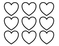 Small Picture Valentines Day Hearts in Rows and Columns coloring page kids