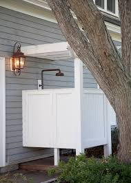 shower stall ideas patio traditional with bead board bronze casual outdoor shower gray