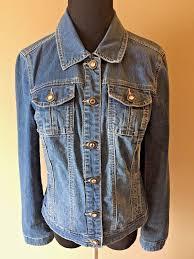 baccini blue denim stretch jean jacket rhinestone bling ons size m cj5 26 95