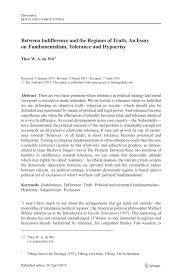 Essay On Tolerance Pdf Between Indifference And The Regimes Of Truth An Essay On
