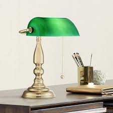 Hammond Traditional Piano Banker Desk Table Lamp 14 High Brass Plating Green Glass Shade For Bedroom Bedside Nightstand Office 360 Lighting