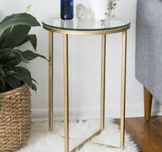 glass round side table small vintage furniture round end lounge gold metal stand