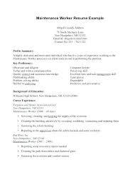 Building Maintenance Sample Resume Resume For Maintenance ...