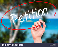 Man Hand Writing Petition With Black Marker On Visual Screen Stock ...