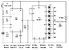 wiring diagram for car electronic cricket match game when the push switch s1 is pressed momentarily the astable operates and all the leds run very fast sequentially when s1 is released any one of the led