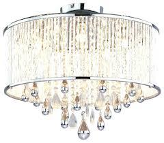 semi flush crystal chandelier five light chrome clear crystals glass drum shade semi flush mount regarding