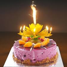 Birthday Cake Flower Candles With Happy Birthday Music Rotating