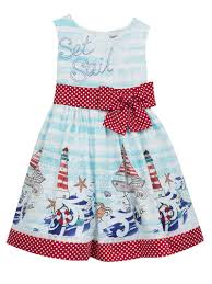 Nautical Border Print With Dot Bow And Trim Summer Dress Counting Daisies Little Girls 2 6x