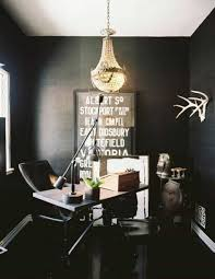 black home office. Home Office , Decorating Small : With Black Walls And Chandelier N