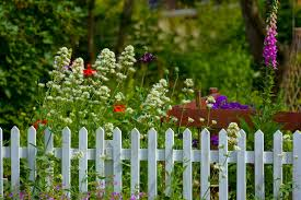 A pretty garden fence in white with a partial red fence behind it and tall,