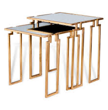 hollywood regency mirrored furniture. Hollywood Regency Antique Gold Leaf Mirror Nesting Side Tables   Kathy Kuo Home Mirrored Furniture G