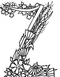 Small Picture Alphabet Flowers Letter Z Coloring Pages Batch Coloring