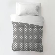 gray and white dots and stripes toddler bedding