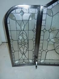 leaded glass fireplace screen ideas