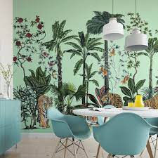 Tropical Tiger Chinoiserie Wall Mural ...
