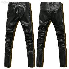 2019 whole hip hop mens black leather pants faux leather skinny pu pants men outdoor winter sports harem jogger pant new 2016 from xingceng