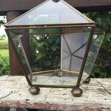 vintage brass and glass display box metal and glass display cas