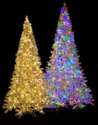 Christmas Tree With White And Multicolor Lights Medium Size Flocked Arctic Pine Trees 7 5 Ft 9 Ft And