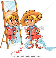 child looking in mirror clipart. girl looks in the mirror. little mother\u0027s shoes and hat. fashion kids. children adult clothing. funny cartoon character. vector illustration. child looking mirror clipart o