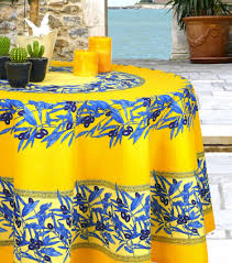 yellow and blue provencal treated round tablecloth